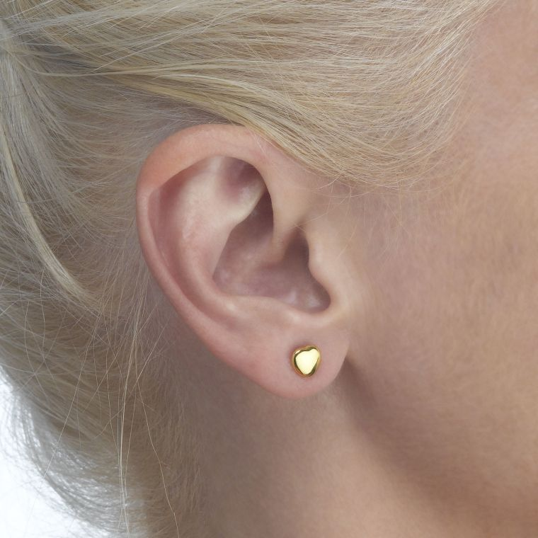 Gold Stud Earrings -  Classic Plan Heart