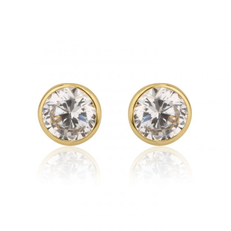 Gold Stud Earrings -  Circle of Monica - Small