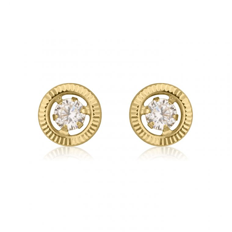 Gold Stud Earrings -  Crystal Circle - Small