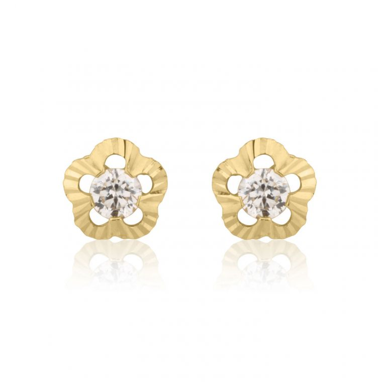 Gold Stud Earrings -  Flower of Elizabeth