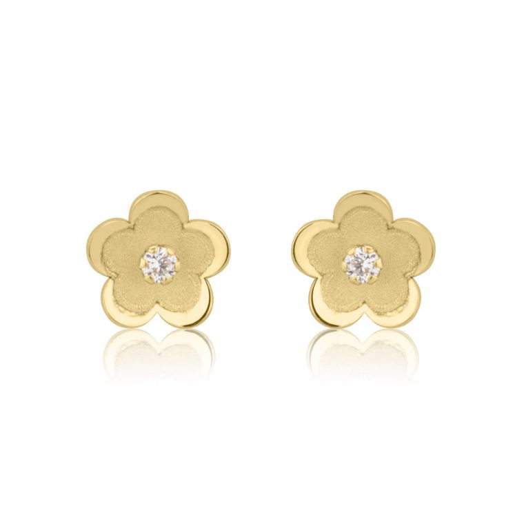 Gold Stud Earrings -  Daisy Flower