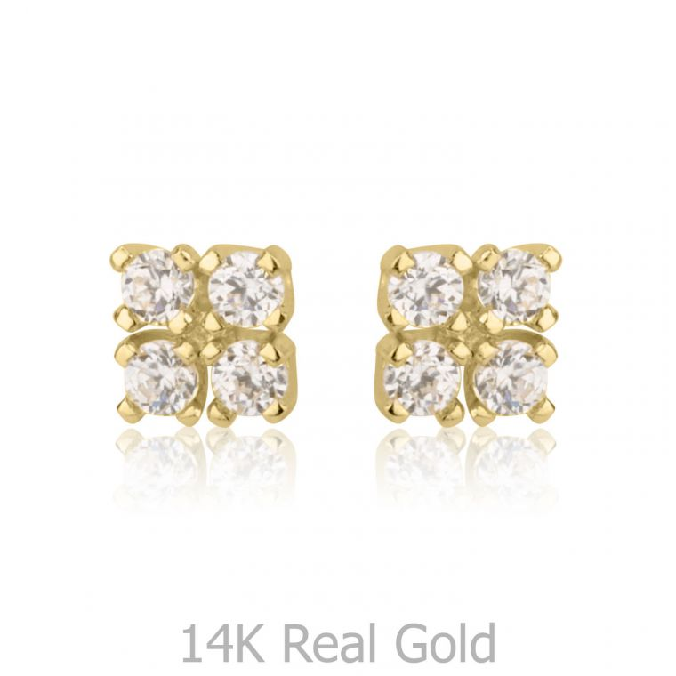 Gold Stud Earrings -  Glittering Square