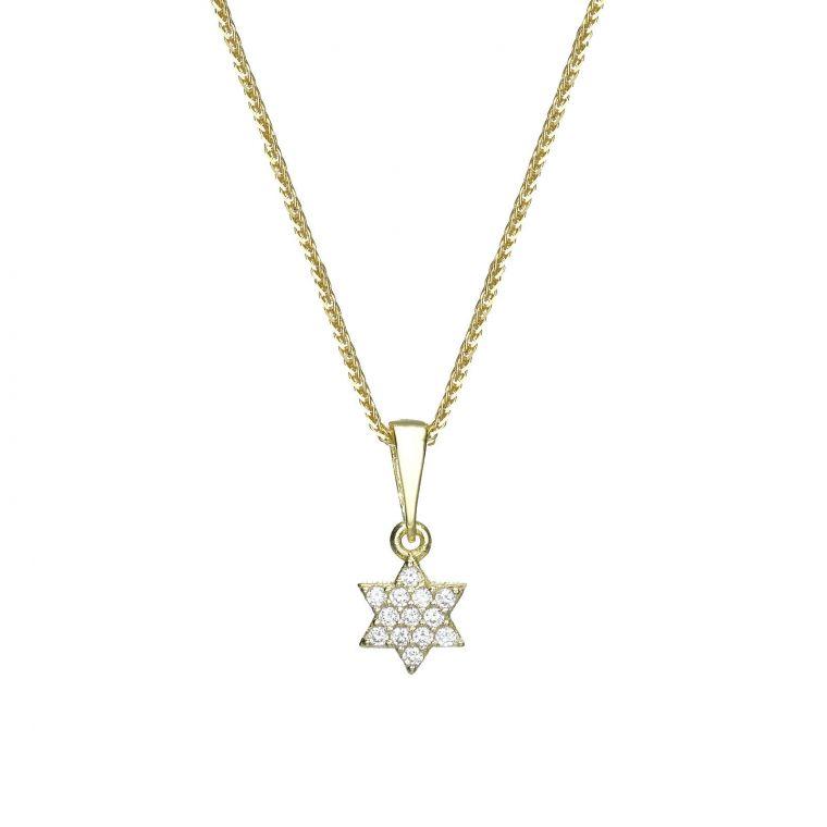 Gold Pendant - Star of David (Shalom)