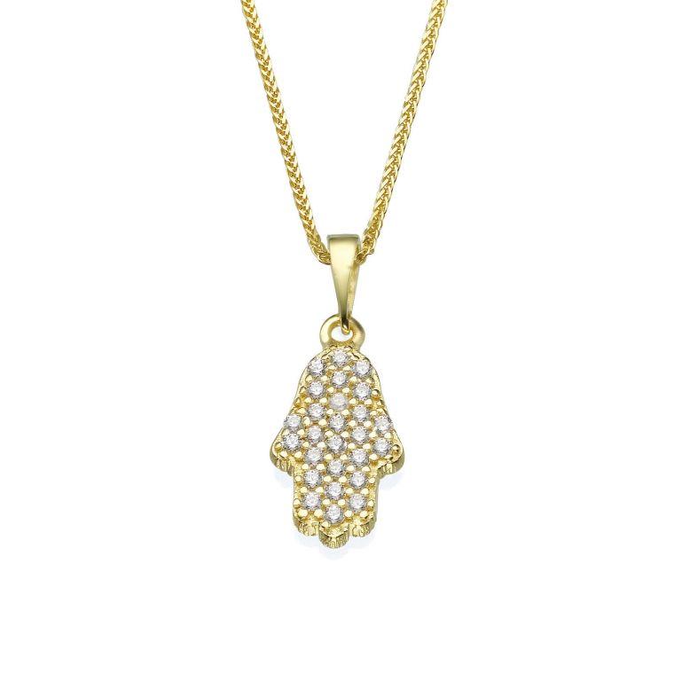 Gold Pendant - Sparkling Hamsa
