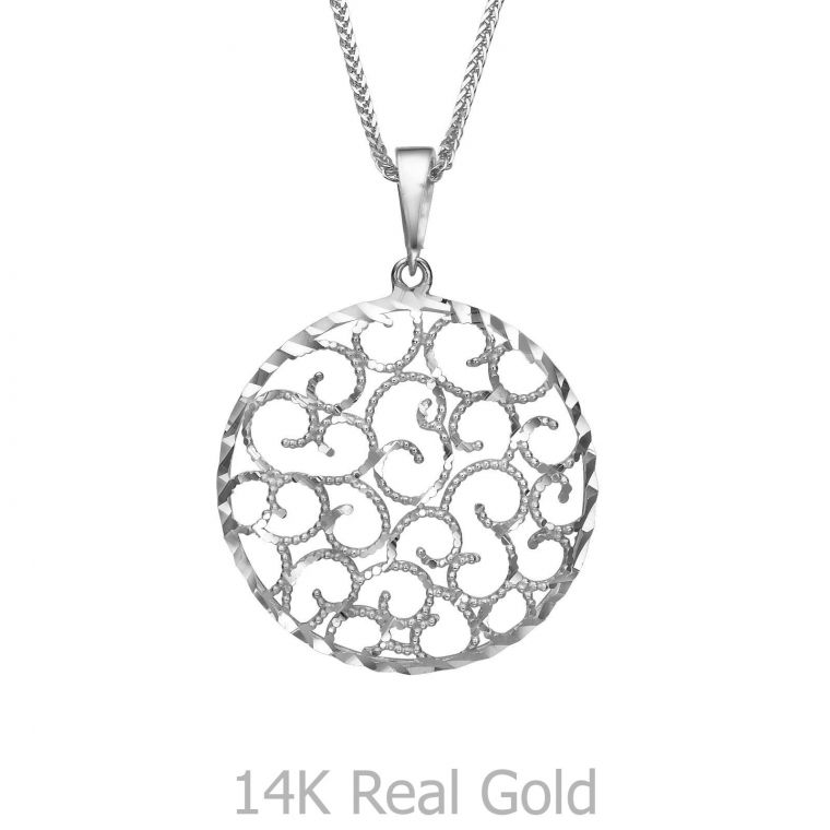 White Gold Pendant - Twirls of Gold
