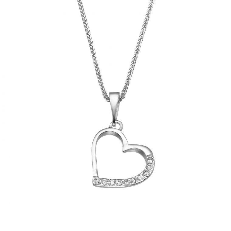 White Gold Pendant - Glittering Heart