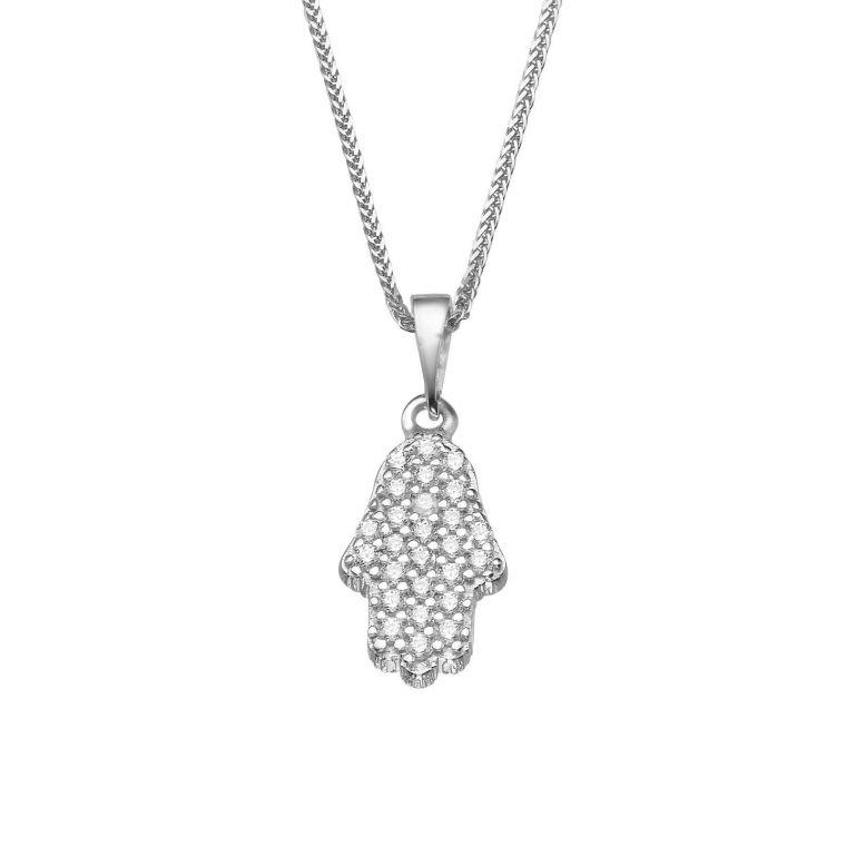 White Gold Pendant - Sparkling Hamsa