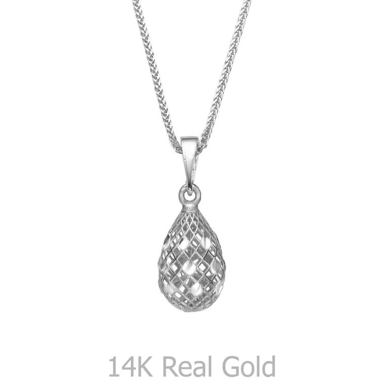 White Gold Pendant - Glittering Drop