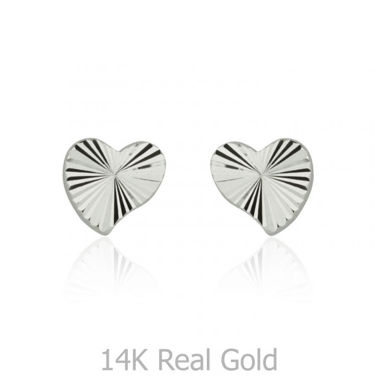 White Gold Stud Earrings -  Noted Heart