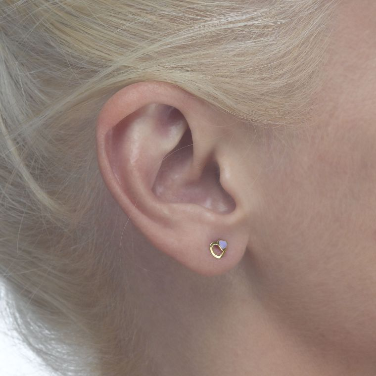 Gold Stud Earrings -  Delighting Hearts