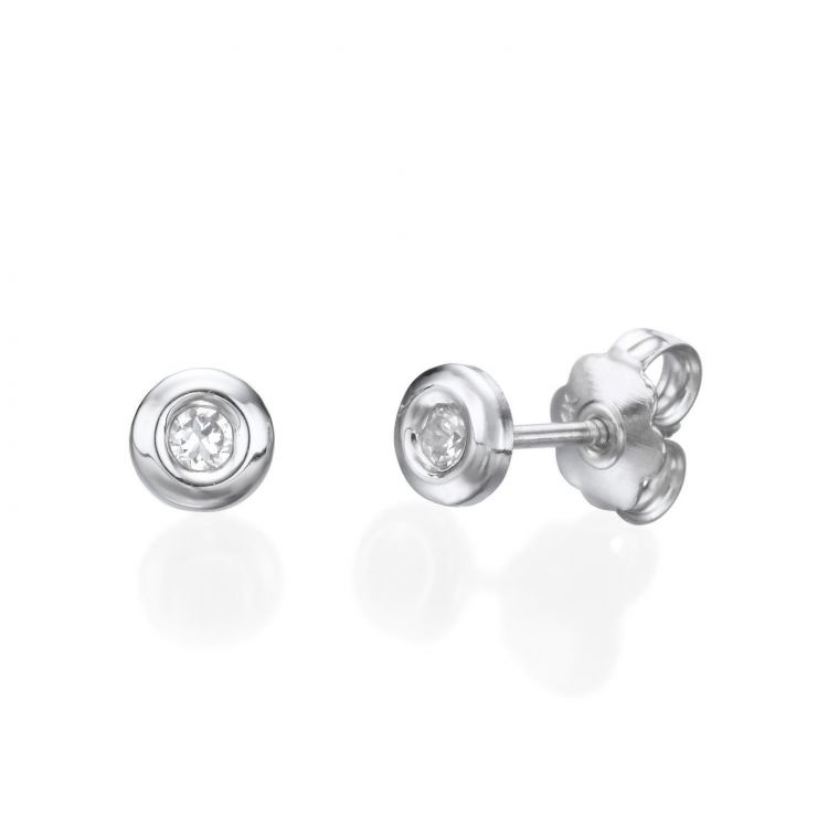 White Gold Stud Earrings -  Circle of Splendor - Large
