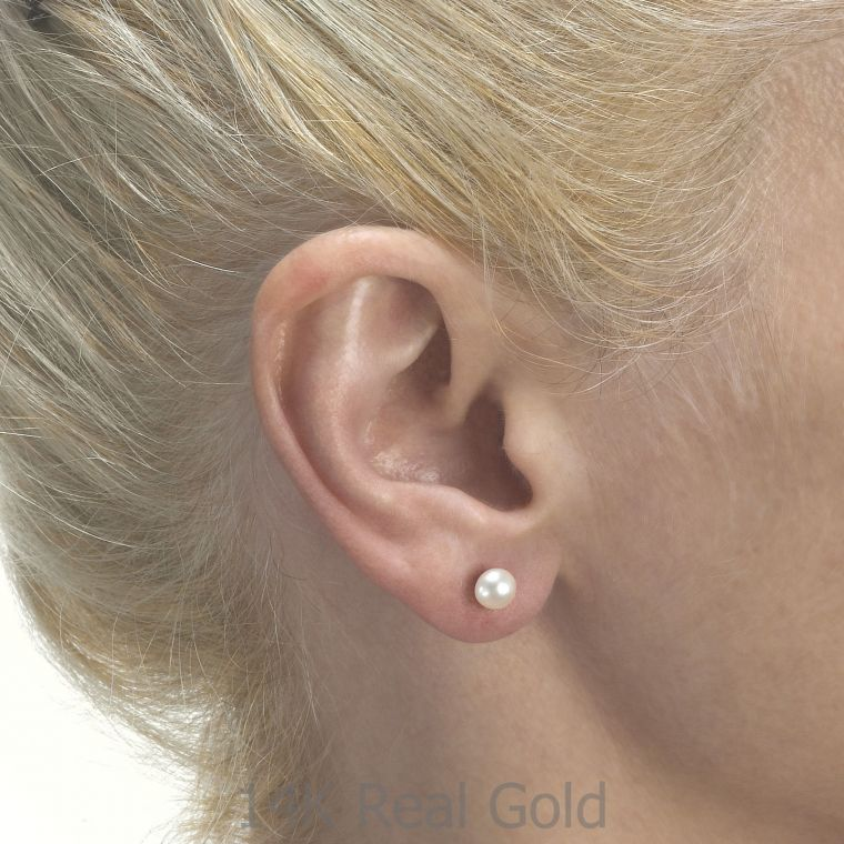 Gold Stud Earrings -  Classic Pearl - Large