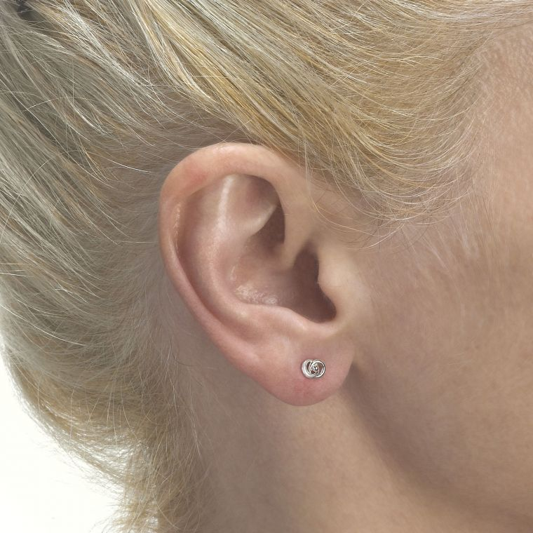 White Gold Stud Earrings -  Linked Circles