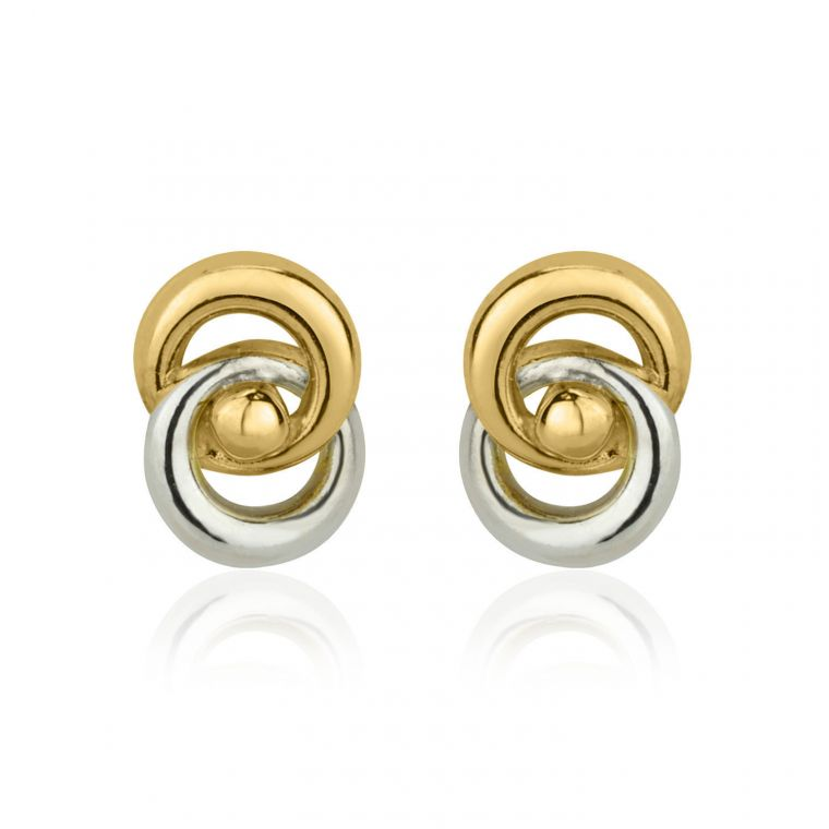 Gold Stud Earrings -  Linked Circles - Small