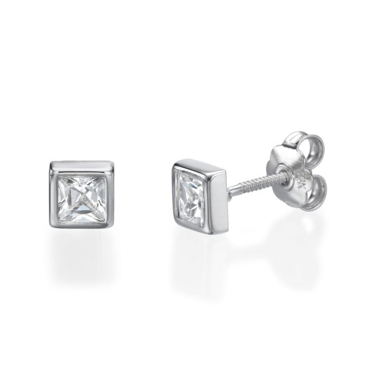 Gold Stud Earrings -  Intriguing Square