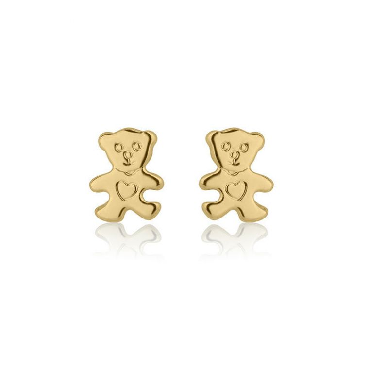 Gold Stud Earrings -  Cute Teddy
