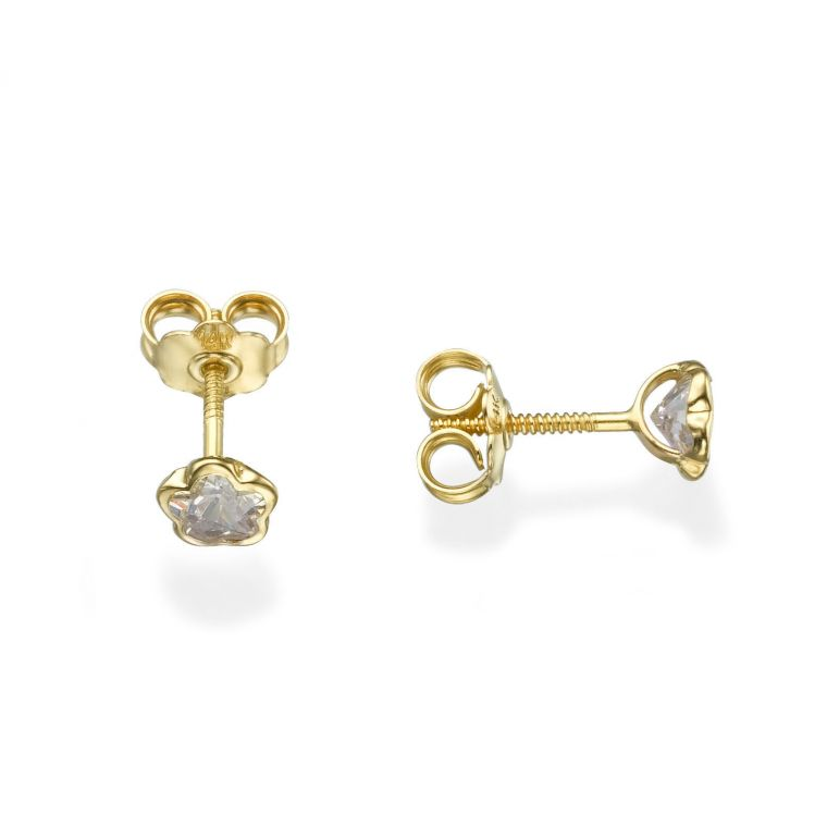 Gold Stud Earrings -  Night Star