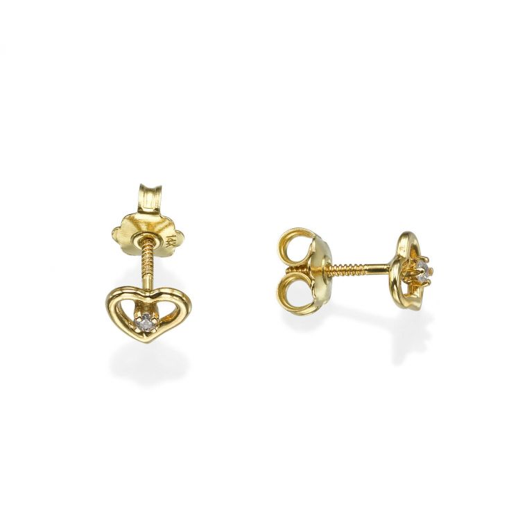 Gold Stud Earrings -  Poetic Heart