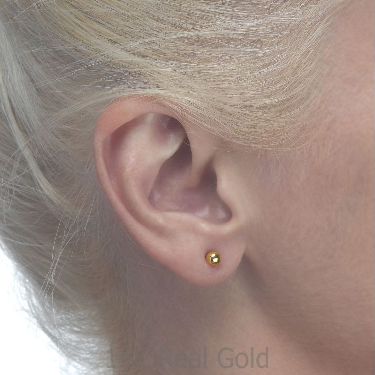 Gold Stud Earrings -  Classic Circle - Large