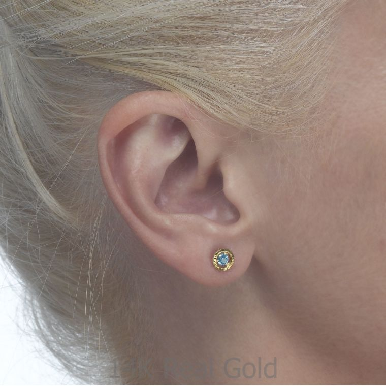Gold Stud Earrings -  Topaz Circle