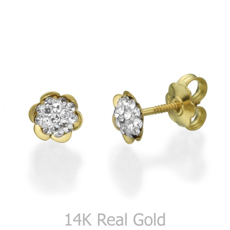 Gold Stud Earrings -  Flower of Olivia