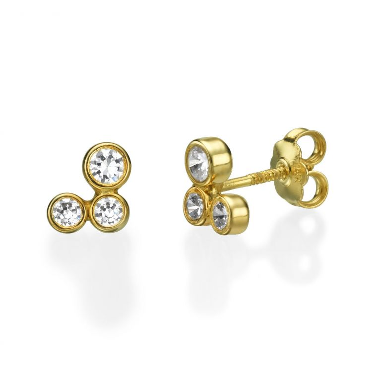 Gold Stud Earrings -  Sparkling Circles