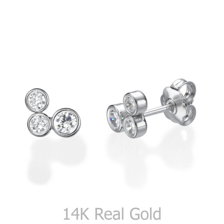White Gold Stud Earrings -  Sparkling Circles