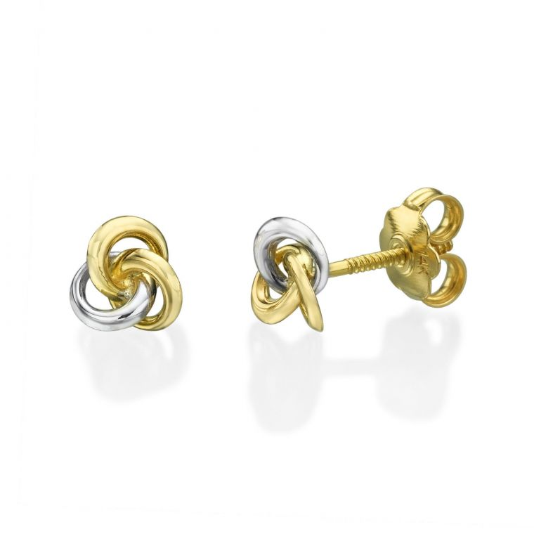Gold Stud Earrings -  Unity of Circles - Small