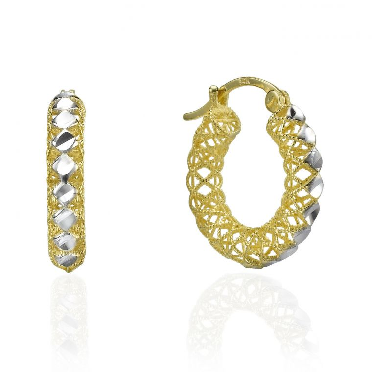 Gold Hoop Earrings - Filigree Hoops