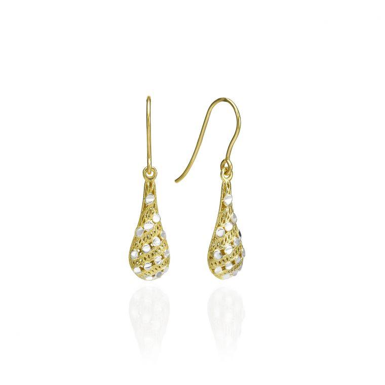 Gold Drop Earrings - Filigree Drops