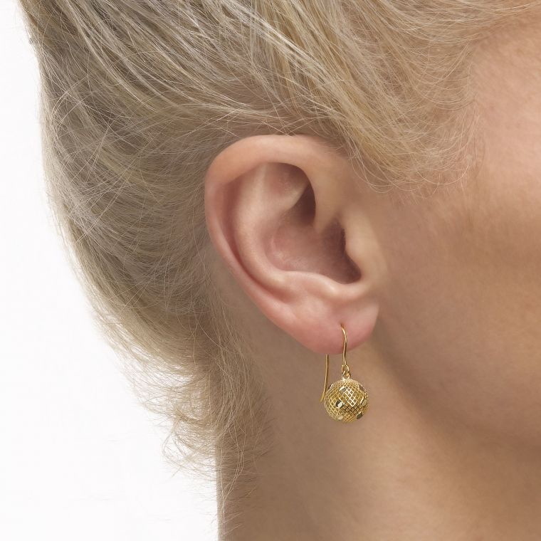 Gold Drop Earrings - Filigree Ball