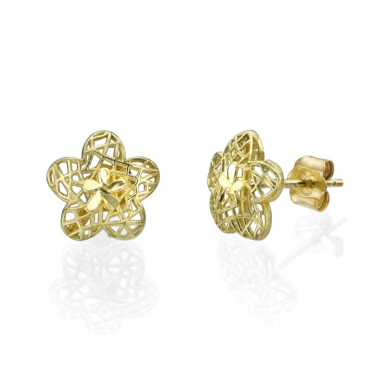 Gold Stud Earrings - Florina Flower