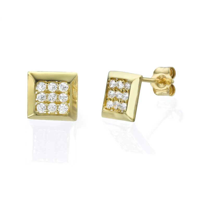 Gold Stud Earrings - Sparkling Square