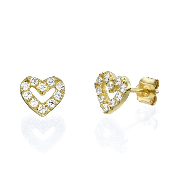 Gold Stud Earrings - Sparkling Heart
