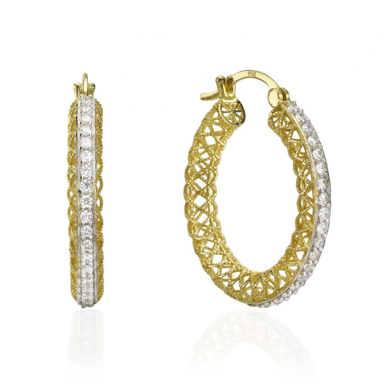Gold Hoop Earrings - Bejeweled Hoops