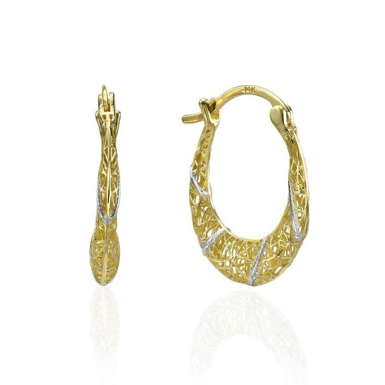 Gold Hoop Earrings - White & Yellow Hoops