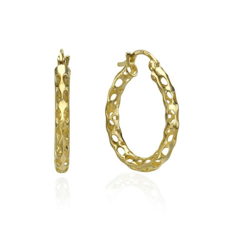 Gold Hoop Earrings - Dotted Hoops