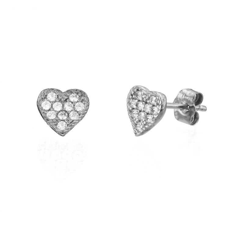 Gold Stud Earrings - Heart of Delight