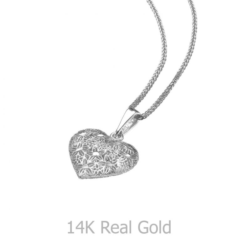 White Gold Pendant - Embroidered Heart