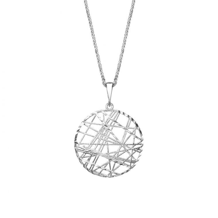 White Gold Pendant - CrissCross