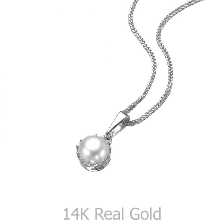 White Gold Pendant - Queen of Pearl