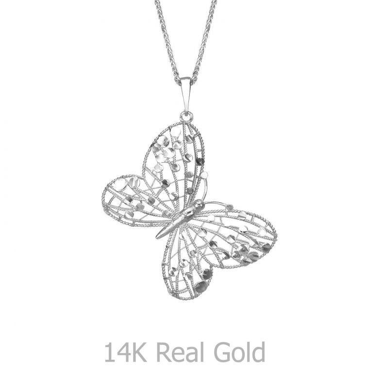 White Gold Pendant - Golden Butterfly