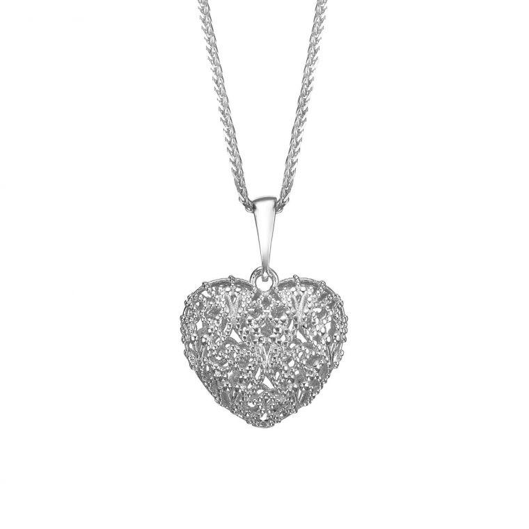White Gold Pendant - Delicate Heart