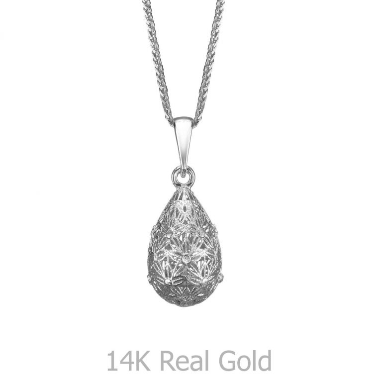 White Gold Pendant - Golden Drop