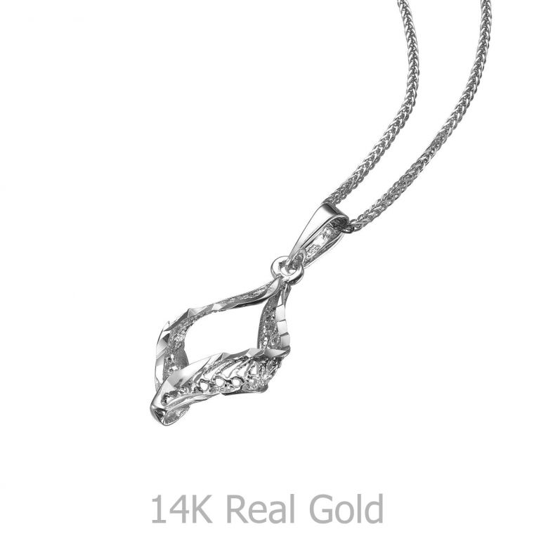 White Gold Pendant - Golden Twist