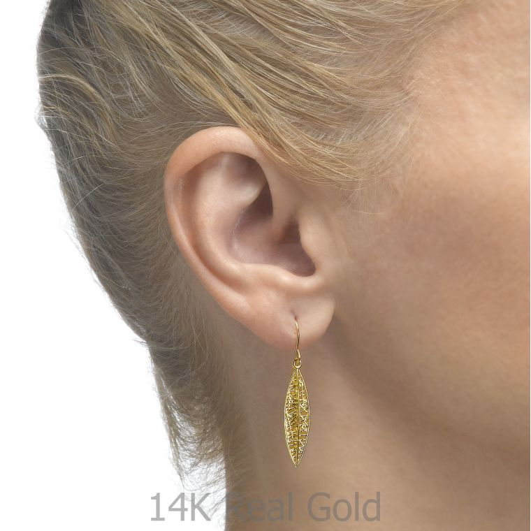 Drop and Dangle White Gold Earrings - Golden Leaf