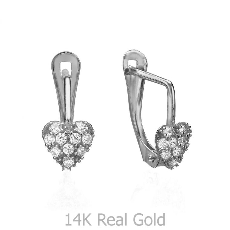Drop White Gold Earrings - Glowing Heart