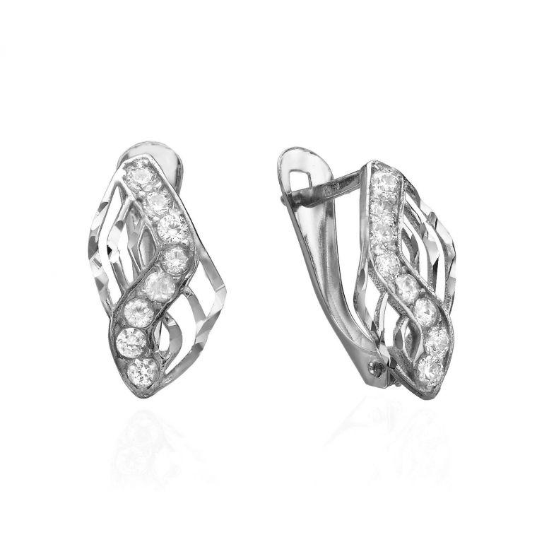 Drop White Gold Earrings - Gold Lightning
