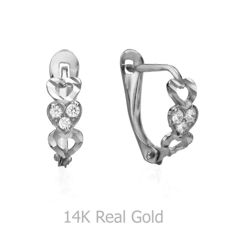 Drop White Gold Earrings - Happy Hearts