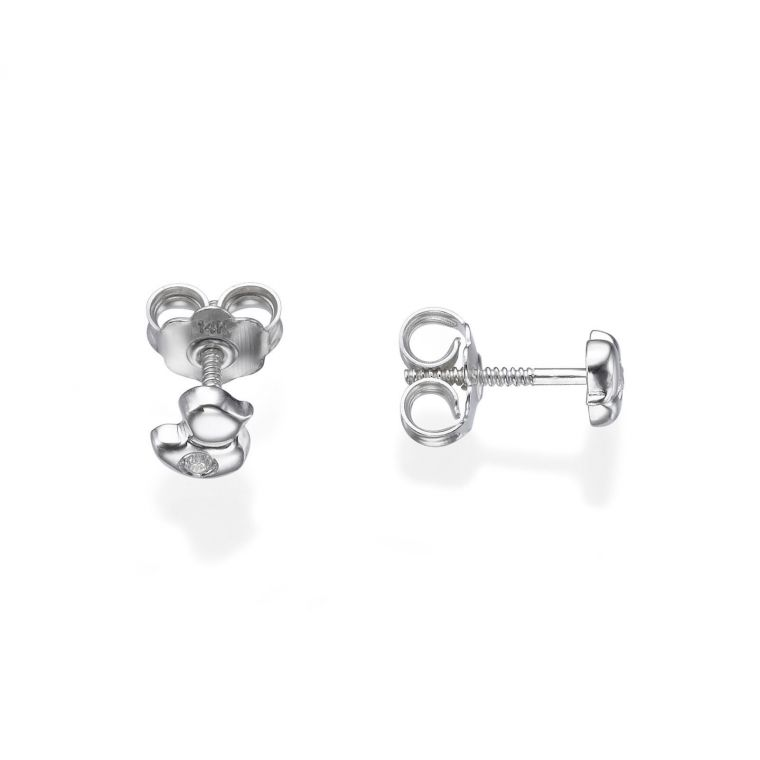 White Gold Stud Earrings -  Sparkling Chick